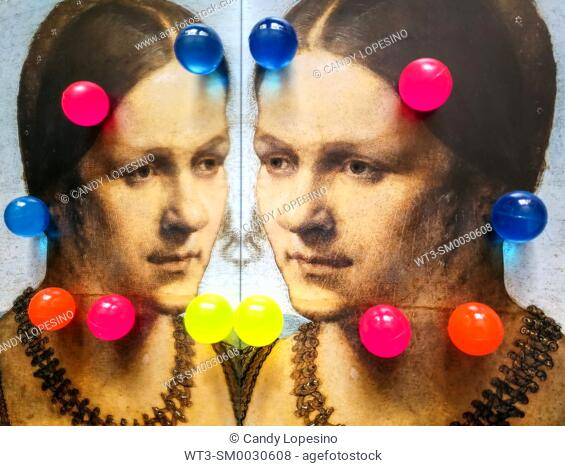 Women in Art, portrait of a young venetian woman painted by Albrecht Dürer in the year 1506, and twelve vivid colored balls reflected in a mirror