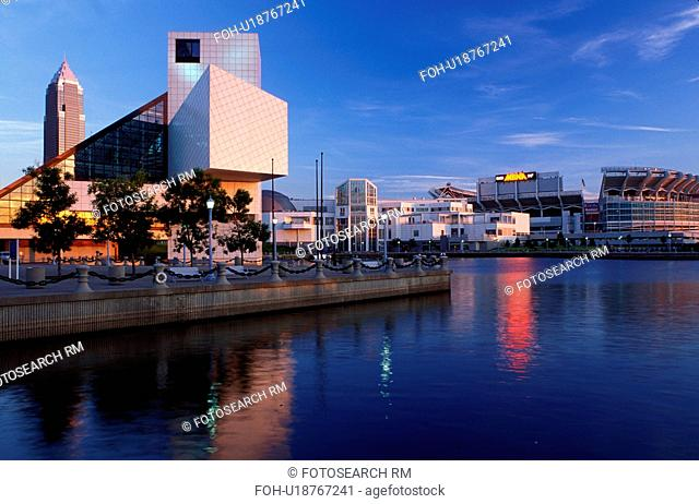 Cleveland, skyline, OH, Ohio, Skyline of downtown Cleveland and the Rock and Roll Hall of Fame and Museum along the waterfront of North Coast Harbor