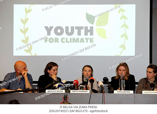 February 21, 2019 - Brussels, BELGIUM - Nic Balthazar, Climate activist Anuna De Wever, Swedish climate activist Greta Thunberg