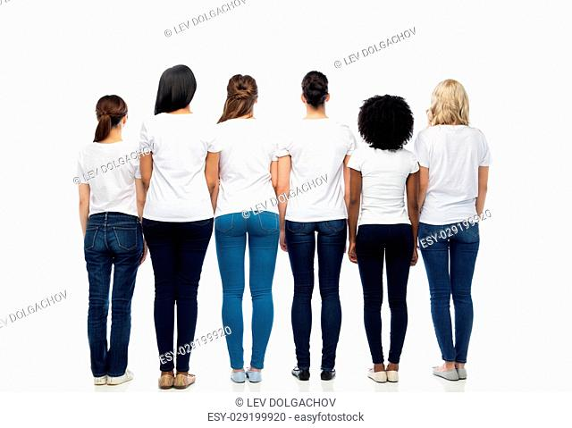 diversity, race, ethnicity and people concept - international group of different women in white blank t-shirts from back