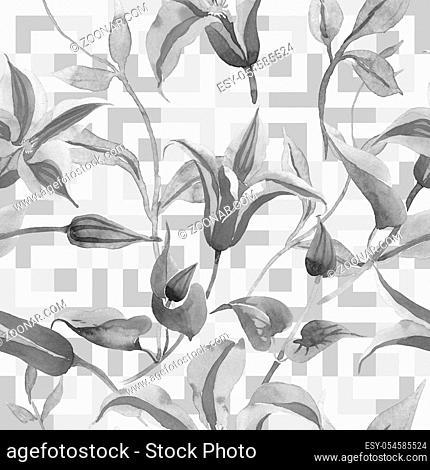Red clematis. Floral botanical flower. Wild spring leaf wildflower pattern. Aquarelle wildflower for background, texture, wrapper pattern, frame or border