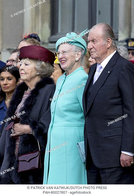(L-R) Princess Beatrix of The Netherlands, Queen Margrethe II. of Denmark and King Juan Carlos of Spain at the inner court yard of the Royal Palace in Stockholm...