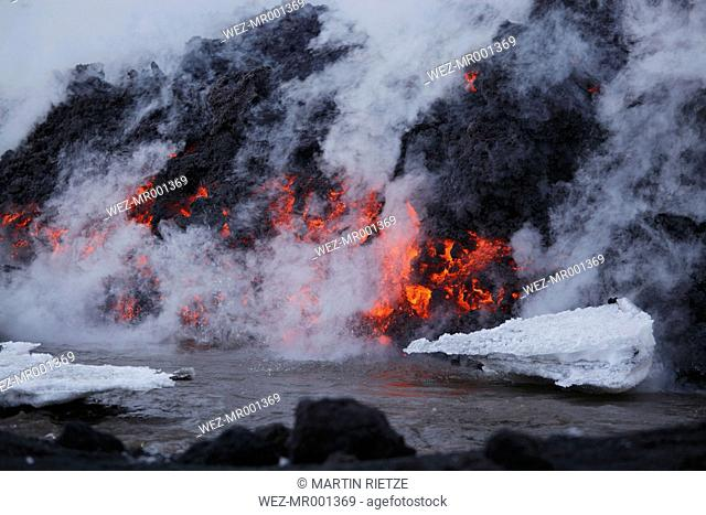 Iceland, View of lava erupting from Eyjafjallajokull Fimmforduhals, 2010
