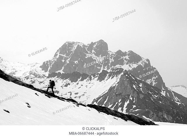 Hiker in Adamello Park,province of Brescia, Italy