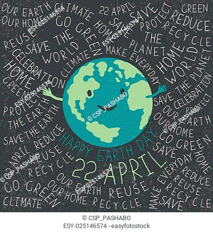 Happy Earth Illustration. Earth smile. Happy Earth Day. 22 April text. Typographic Earth Day Poster. Text around the Earth