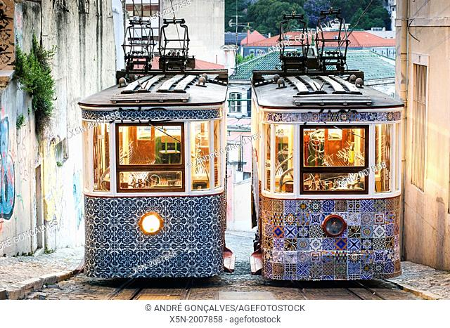 The Gloria Funicular, Lisbon, Portugal, Europe