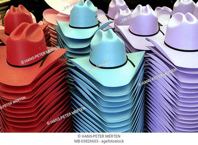 Souvenir sale, cowboy hats, colorfully