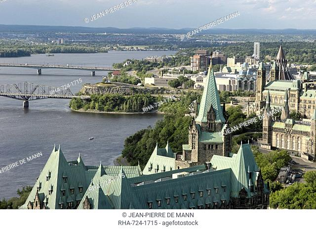 Overview of Parliament Hill from Merlot Rooftop Grill, Ottawa, Ontario, Canada, North America
