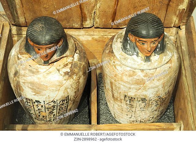 Canopis jars, Egyptian museum, Turin, Italy, Europe