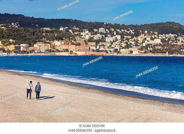 Beach, Mediterranean sea, Nice, Alpes Maritimes departement, France