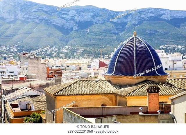 Denia alicante from castle church dome belfry