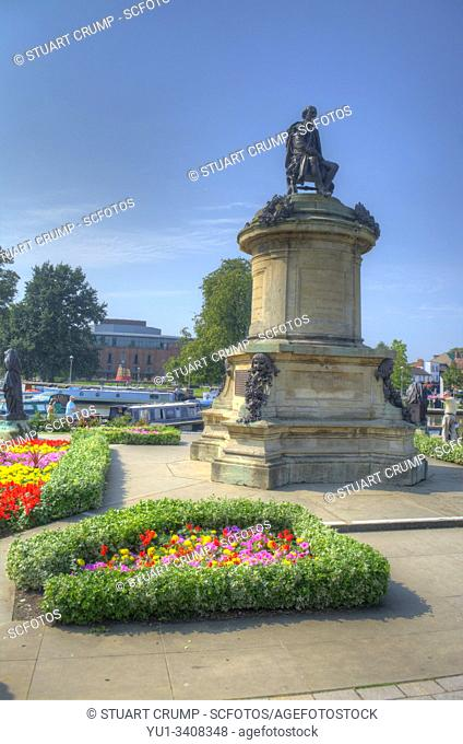 HDR image of the Gower Memorial in the Bancraft Gardens featuring William Shakespeare in Stratford-Upon-Avon