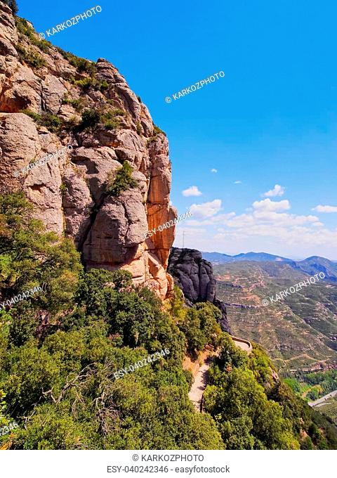 View from Montserrat - a multi-peaked mountain near Barcelona, Catalonia, Spain