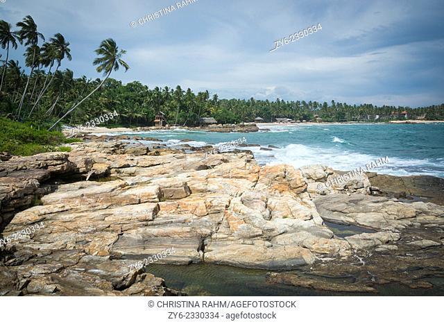 Rocky landscape at Rocky Point, Goyambokka, Tangalle, Southern Province, Sri Lanka, Asia