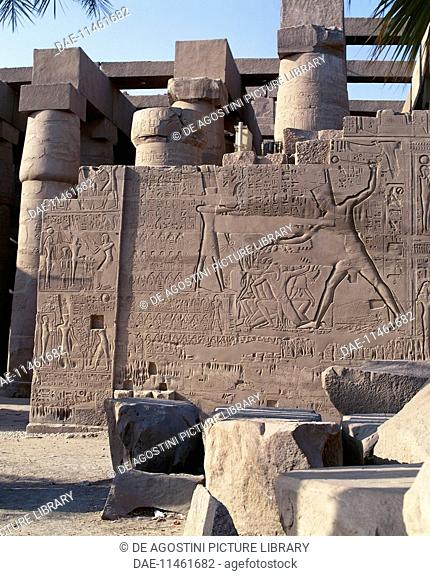 Relief depicting the military campaigns of Seti I in Syria and Palestine, northern walls of the great hypostyle hall, Karnak Temple Complex (Unesco World...