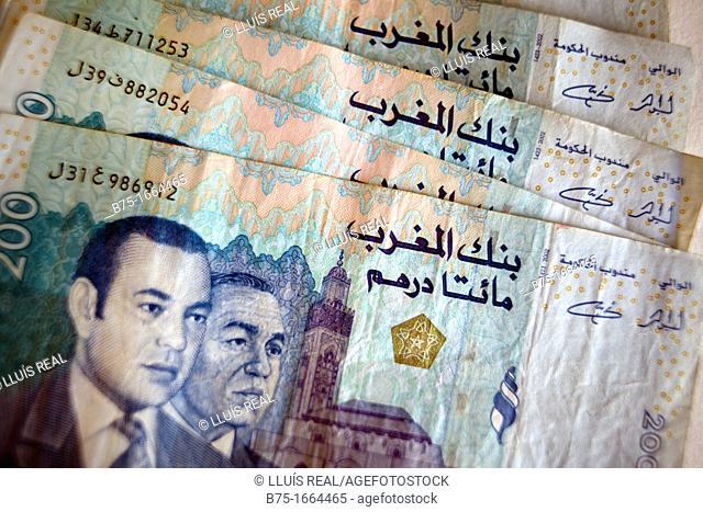 200, Dirham marroqui, rey de marruecos, moneda africana, moneda marroqui, dinero, moneda, divisa, primer plano, valor, economia, cotización, mercado