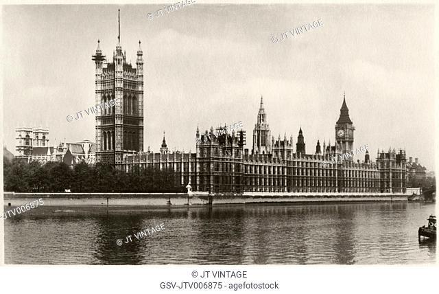 The Houses of Parliament and Big Ben, London, England, UK, Postcard, circa 1925