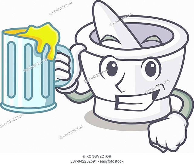 With juice mortar mascot cartoon style vector illustration