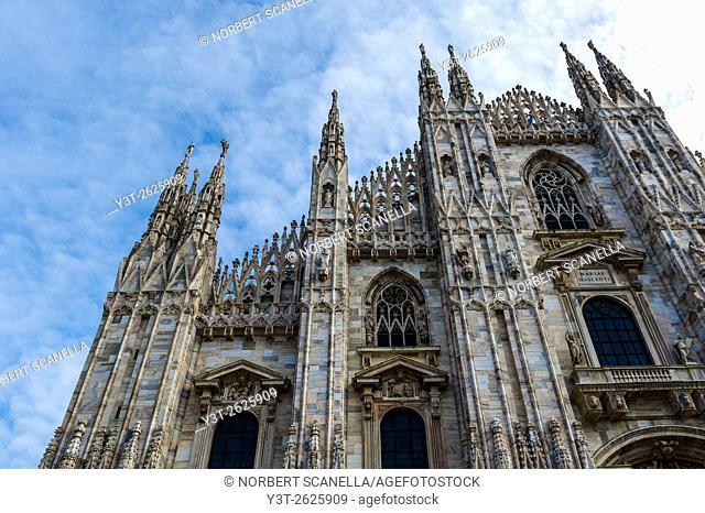 Europe. Italy. Lombardy. Milan. Duomo. Facade. Detail