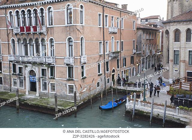 Venice Veneto Italy on January 19, 2019: View of Grand Canal from Accademia bridge.