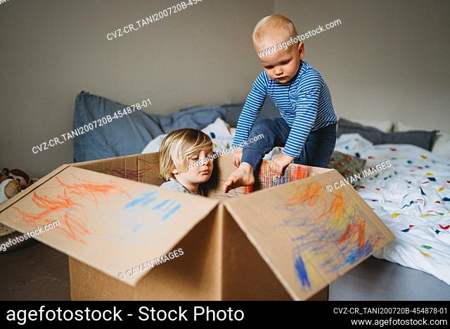 Young male kids playing and drawing in a box during lockdown