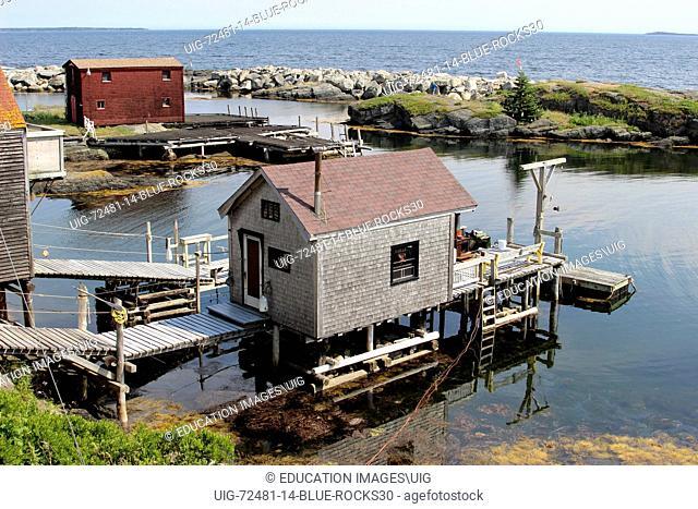 Canada Nova Scotia Atlantic Maritime Provinces Lunenburg Blue Rocks lobster traps dock