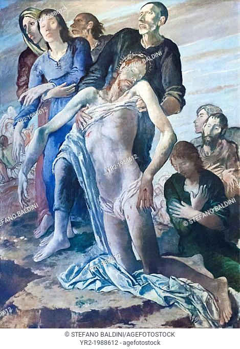 Deposition (deposizione), 1938-1939, Felice Carena, 1879-1966, oil on canvas, cm 197 x 145, vatican museums, Rome, Italy