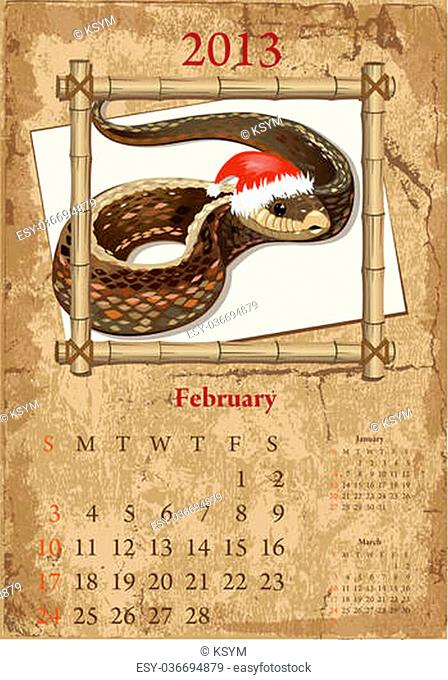 Vintage Chinese-style calendar for 2013, february
