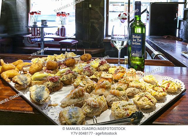 Pintxos on counter. Bar Monty, Bilbao, Biscay, Basque Country, Spain