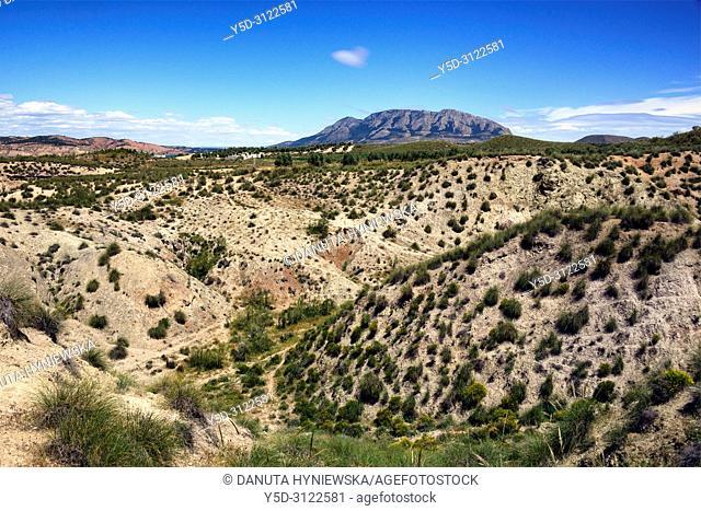 Jabalcón or Cerro Jabalcón - mountain near the city of Baza, Sierra de Baza, seen from Freila, Altiplano region of Granada, Granada High Plains