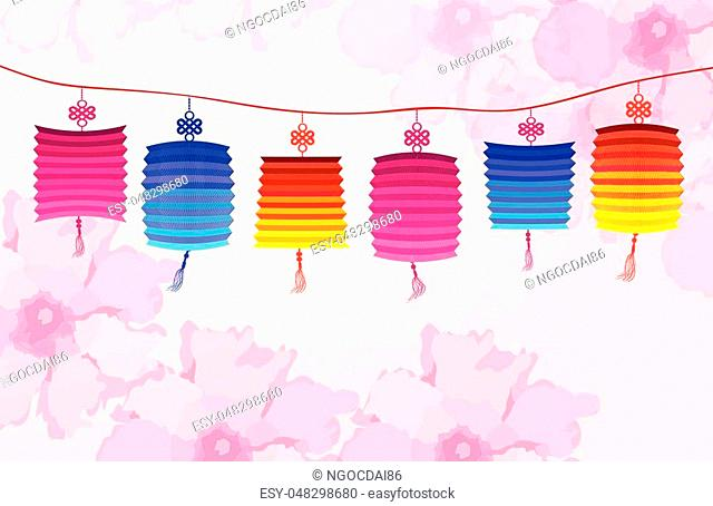 Chinese new year with lantern.Blossom background