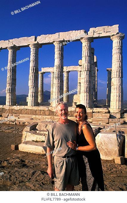Tourists at Poseidon Ruins, Athens, Greece