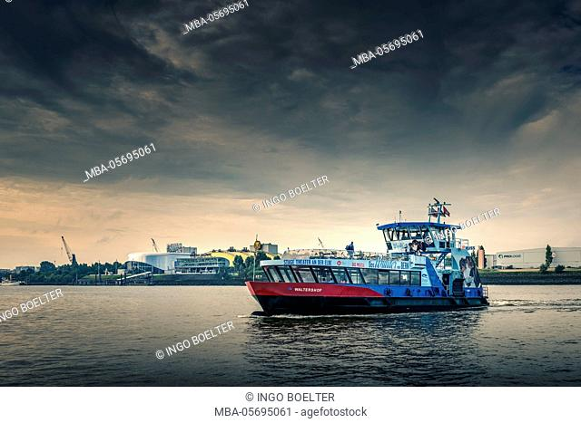 Germany, Hamburg, the Elbe, harbour, theatre, musical, Stage Theatre on the Elbe, ferry