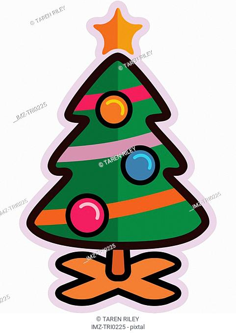 Illustration of a christmas tree with a star on top