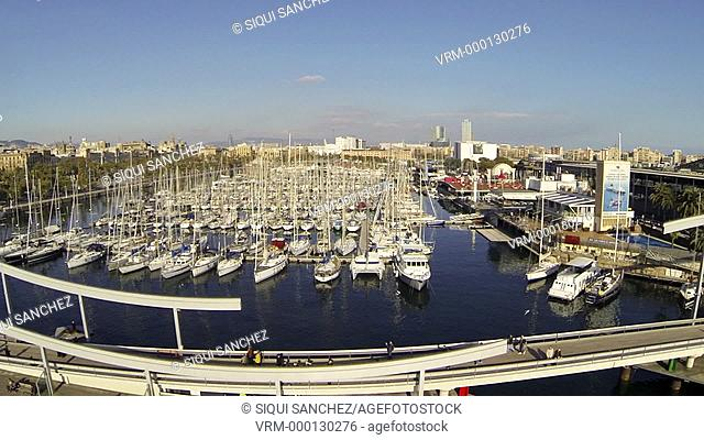 Maremagnum area and yacht port. Barcelona, spain