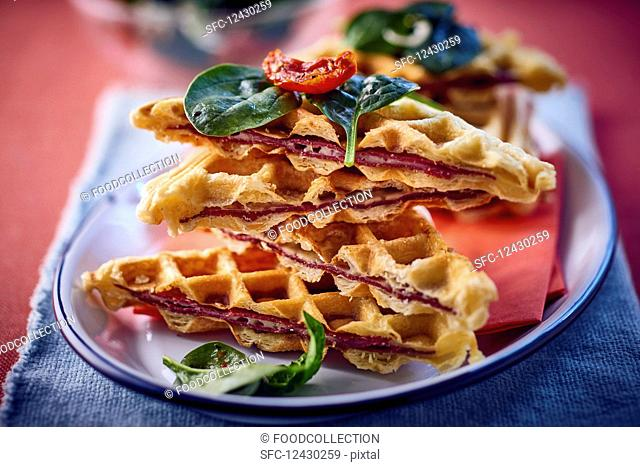 Spicy waffles with bacon and spinach