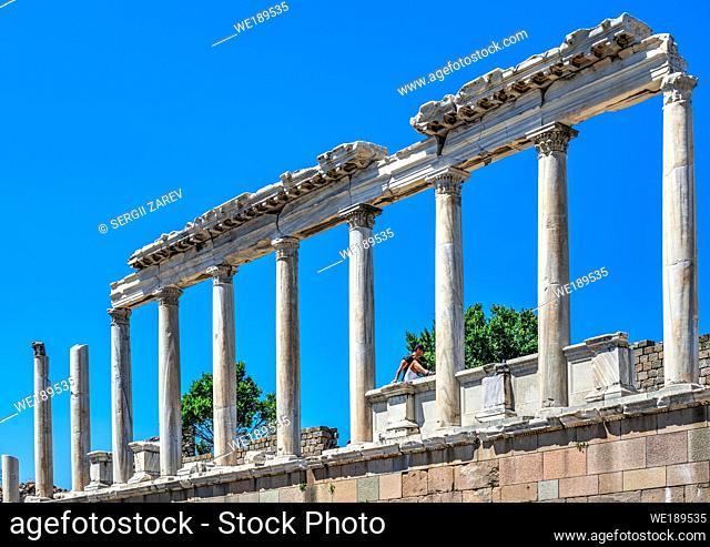 Pergamon, Turkey -07. 22. 2019. Ruins of the Temple of Dionysos in the Ancient Greek city Pergamon, Turkey