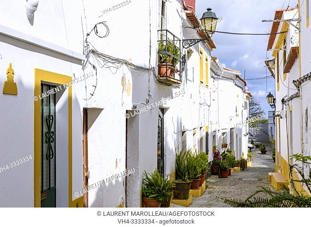 Typical narrow street in the historic town of Elvas, Garrison Border Town of Elvas and its Fortifications, Portalegre District, Alentejo Region, Portugal