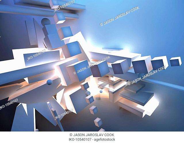 Abstract futuristic disassembled three dimensional structure