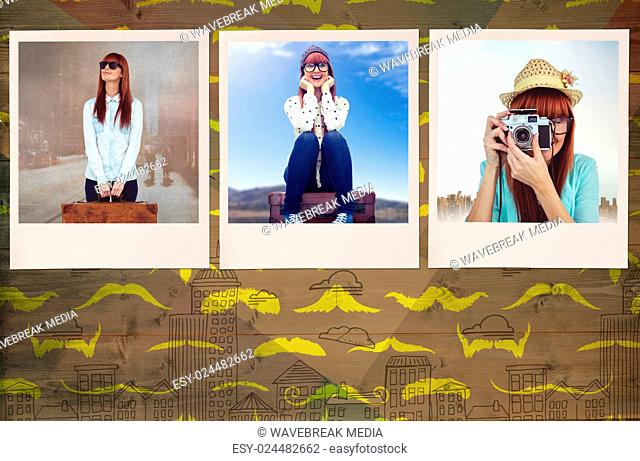 Composite image of smiling hipster woman holding suitcase