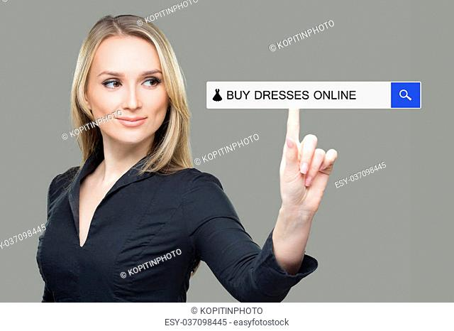 woman pressing dress, buy online button. touch screen