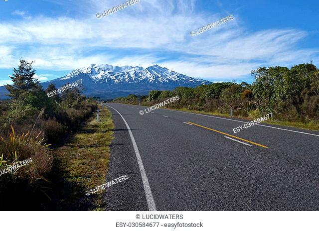 NATIONAL PARK, NZ - DEC 8 2014:The main road to Mount Ruapehu.It began erupting at least 250,000?years ago. In recorded history