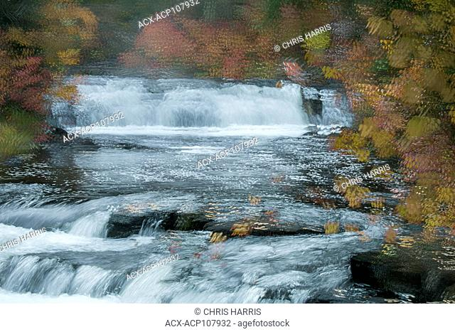 Canada, British Columbia, Centennial Park, 100 Mile House, Cariboo, Bridge Creek Falls, abstract landscape, autumn, fall colours, art, photographic art
