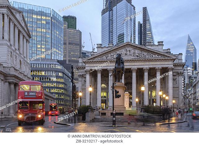 England, City of London- The Royal exchange building at night