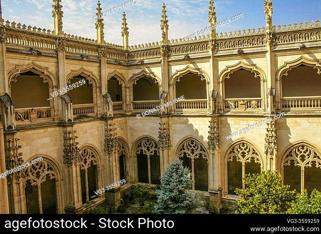 "Toledo, Castilla-La Mancha, Spain, Europe. Monastery of San Juan de los Reyes ((1477â. ""1504). The upper and lower cloister"