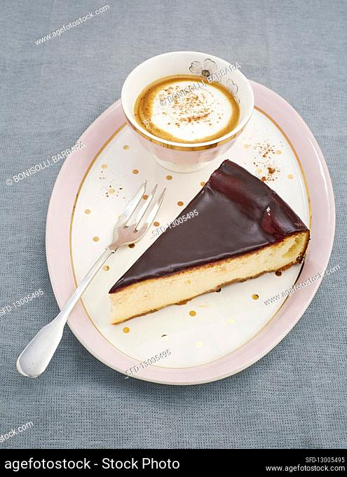 Cheesecake with chocolate icing