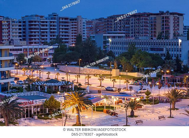 Albania, Vlora, elevated port view, dawn