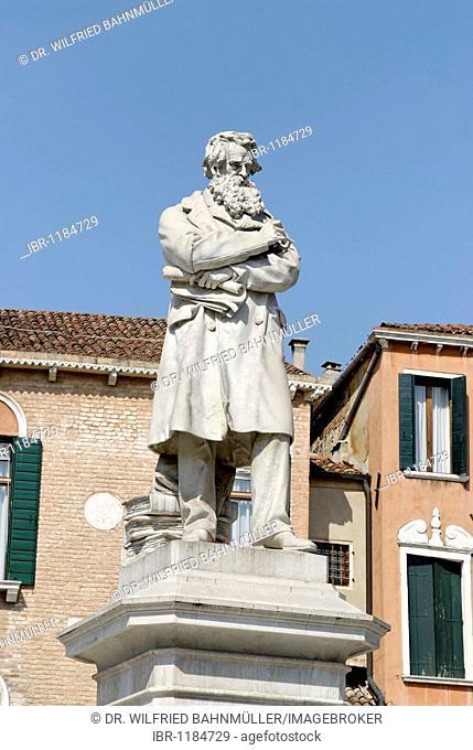 Statue of Nicolo Tommaseo at the Campo Santo Stefano, San Marco quarter, Venice, Venezia, Italy, Europe