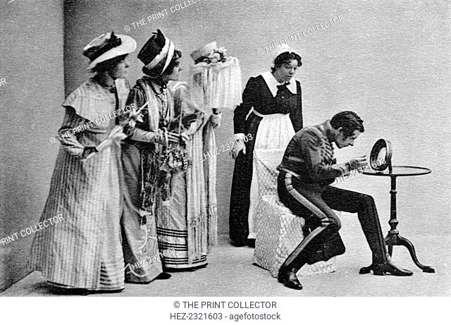 Scene from Quality Street, 1902. Seymour Hicks as Dr Valentine Brown in search of grey hairs in JM Barrie's play
