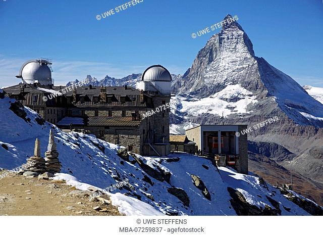 Hotel, observatory and Stockhorn cable car on the Gorner ridge near Zermatt. View of the Matterhorn